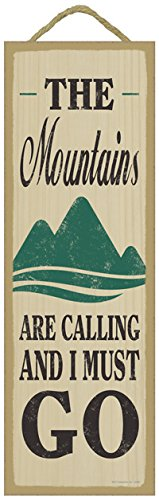 SJT ENTERPRISES, INC. The Mountains are Calling and I Must go (Mountain Image) Lodge/Cabin Primitive Wood Plaque Sign, 5