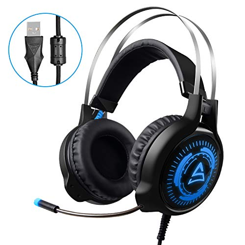 SADES G501 USB Surround Sound PC Gaming Headsets Over-Ear Gaming Headphones with Microphone LED Lighting(Black&Blue)