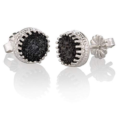 Druzy Stud Earrings Sterling Silver 925 Natural Black Druzy Earrings Jewelry size 6mm