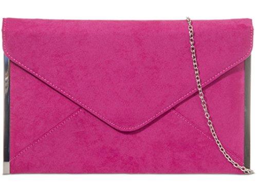 fi9® - Cartera de mano de ante para mujer rosa rosa fucsia