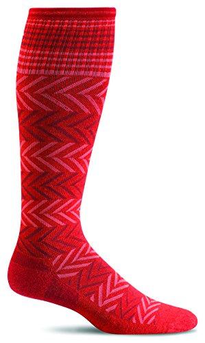 Sockwell Womens Chevron Travel Compression Socks (Guava, S/M)