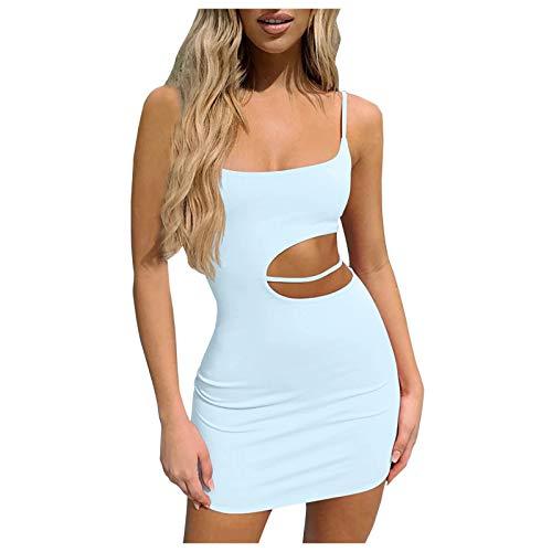 Sexy Kleider Damen Kurz Bodycon Minikleid Frauen Elegantes Miederkleid Slim Bleistiftkleid Club Partykleid Cocktailkleid (Hellblau,M)
