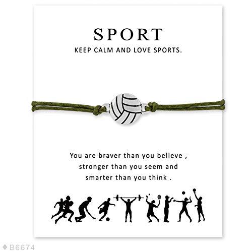 CXKNB Baseball Softball Basketball Fußball Eishockey Tennis Volleyball Sport Charme Karte Armbänder Marineblau Frauen Männer Schmuck Geschenk