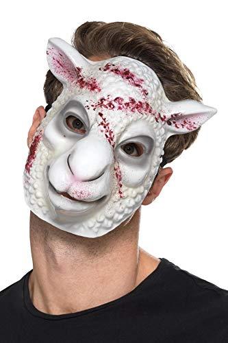 Smiffys Evil Sheep Killer Mask Mscara de ovejas malvadas, color blanco, Talla nica (49115)