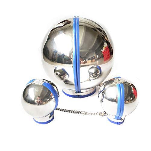 Cinturón de cintura corporal Unisex adultos de acero inoxidable de acero inoxidable esposar con máscara capucha transpirable cara cubierta perro cabra animal cabeza novedad traje Decoraciones de dormi
