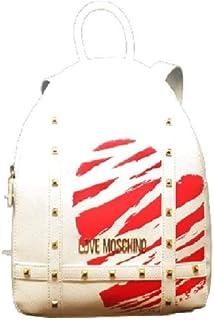 Love Moschino Rucksack aus PU-Kunststoff, weiß, mit rotem Druck, JC4077PP1CLG110A