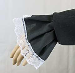 Brigitta Lace Cuffs Victorian Edwardian Fancy Dress Steampunk Costume White Black or Lace (Black) #1