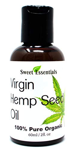 Organic Extra Unrefined Hemp Seed Oil (Food Grade) 2oz | Cannabis Sativa | Imported From Canada | 100% Pure Cold Pressed | Offers Relief From Dry & Cracked Skin, Eczema, Psoriasis, Dermatitis, Rosacea