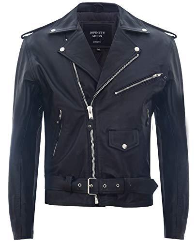 Infinity Leather Chaqueta de Cuero Negra para Hombre Rock Motocicleta de Piel6XL