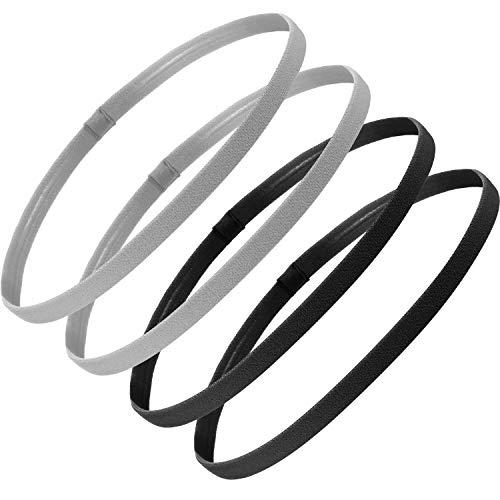 4 Pieces Thick Non-slip Elastic Sport Headbands Football Hair Headbands for Women and Men (Black, Gray)