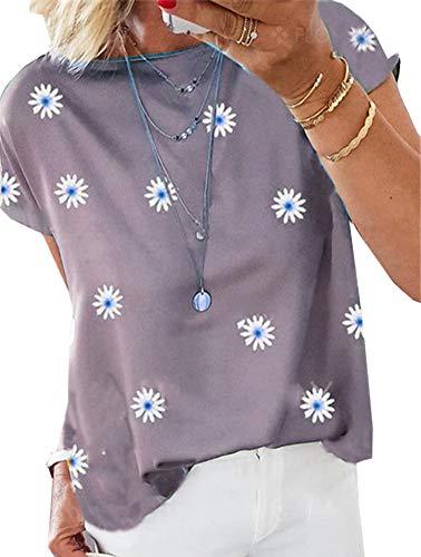LAIYUTING été col Rond à Manches Courtes Petite Marguerite Impression Couture Doux Lâche Coton T-Shirt Femmes