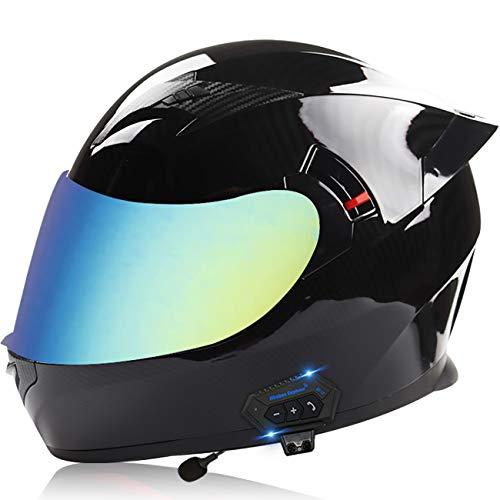 Casco motocicleta modular con Bluetooth,casco modular abatible cara completa,casco scooter de motocicleta para adultos,ECE/DOT Cascos de seguridad para hombres mujeres F,XL=61-62CM