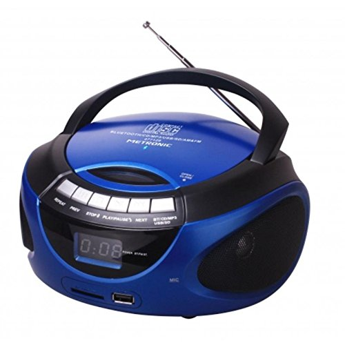 Metronic 477129 - Radio CD / MP3 portátil con Bluetooth, azul