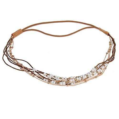 JUSTFOX - Haarband Boheme Hippie Style mit farbigen Perlen und goldener Kette Weiß