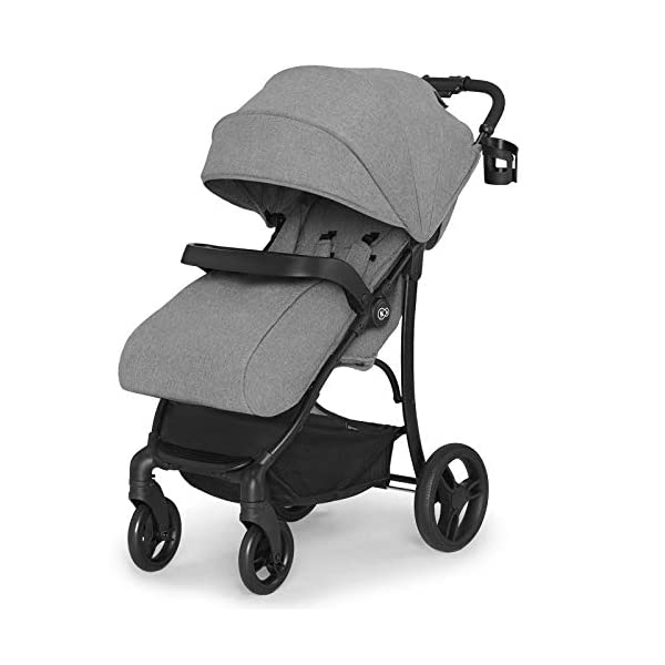 Kinderkraft Lightweight Stroller Cruiser, Baby Pushchair, Foldable, Lying Position, All Wheels Suspension, Big Ajustable Hood, with Accessories, Footmuff, from Birth to 3.5 Years, 0-15 kg, Gray kk KinderKraft STOP&GO BRAKE - Which allows you to quickly lock/unlock the wheels in any type of shoes EASY FOLDING - The stroller can be easily folded or unfolded with just a single move TRAY-SHAPED SEAT HANDLE - Provides perfect space for both playing and feeding. It can be easily detached and washed under running water 3