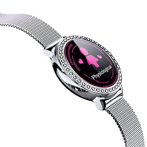 HQPCAHL Smartwatch Mujer, Reloj Inteligente Impermeable IP68, Pulsera de Actividad Inteligente con Monitor de Sueño Pulsómetro Podómetro Contador de Caloría para Android iOS,Plata