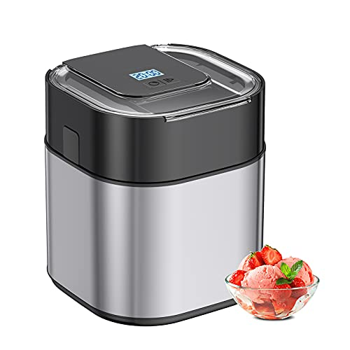 Ice Cream Maker Machine For Home, 1.5 Quart Stainless Steel Homemade Electric Icecream Makers Countertop with Countdown Timer & LED Display, Automatic Frozen Yogurt, Sorbet for Kids Home