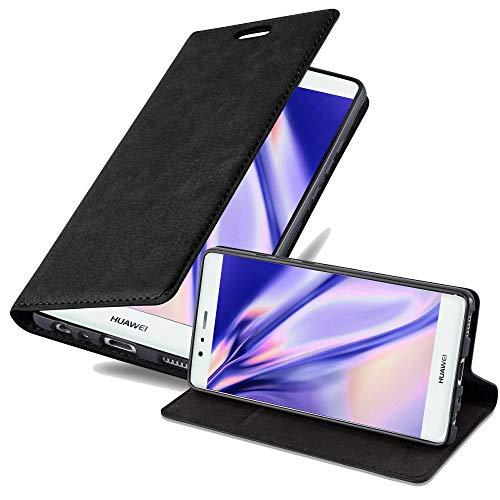 Cadorabo Coque pour Huawei P9 en Noir Nuit - Housse Protection avec Fermoire Magnétique, Stand Horizontal et Fente Carte - Portefeuille Etui Poche Folio Case Cover