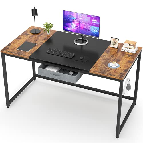Desk Computer Desk with Drawer Industrial Home Office Desk with Hook, 47 Inch Modern Simple Style Laptop PC Desk with Splice Board, Rustic and Black