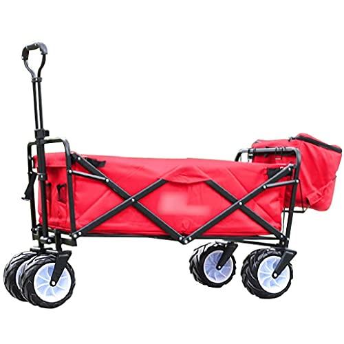 Z-SEAT Carros utilitarios Carro de Mano Carro Plegable portátil para Acampar, Carro de jardín de 4 Ruedas para el hogar, Carro utilitario para Exteriores con Marco de almac