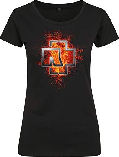 Rammstein Damen Ladies Lava Logo Tee T-Shirt, Schwarz, Medium