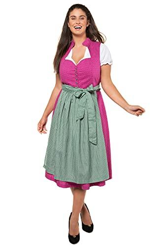 Ulla Popken Damen große Größen Übergrößen Plus Size Dirndl, gepunktetes Kleid, Karierte Schürze kirschblütenrosa 48 723853 57-48