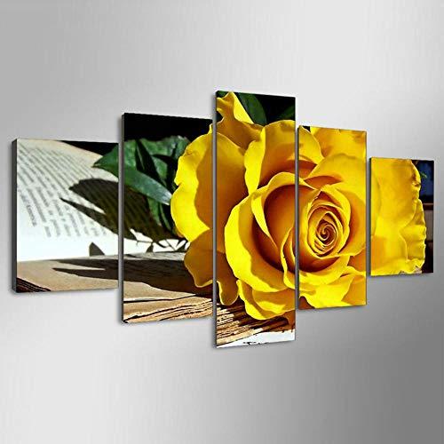 XIAOJIJI wandkunst schilderijen wandschilderij zonder lijstjes sproeischilderij olieverfschilderij vijf canvas schilderij mooi gele roos huis decoratie schilderij schilderij 30*40cm*2 30*60cm*2 30*80cm*1(cm) Frameloos