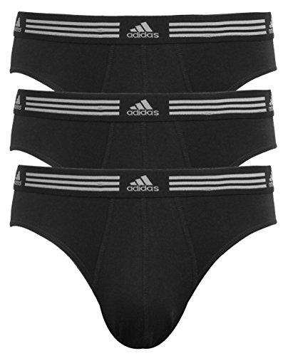 adidas Men's Athletic Stretch Brief Underwear (3-Pack), Black Black Black, LARGE