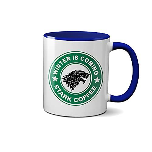 Winter is Coming Stark Coffee Blanca taza de café con el borde azul y la manija Mug