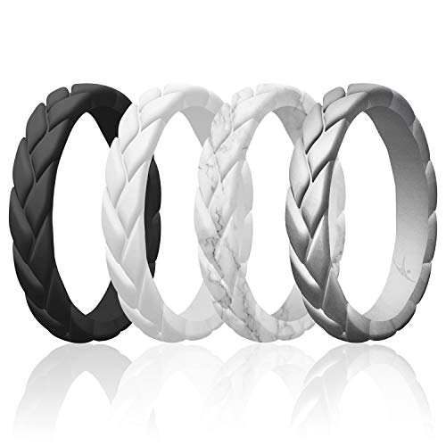 ROQ Silicone Rings for Women Multipack of 4 Womens Silicone Rubber Wedding Rings Bands Flame Leaves - Black, White, Marble, Silver Colors - Size 5