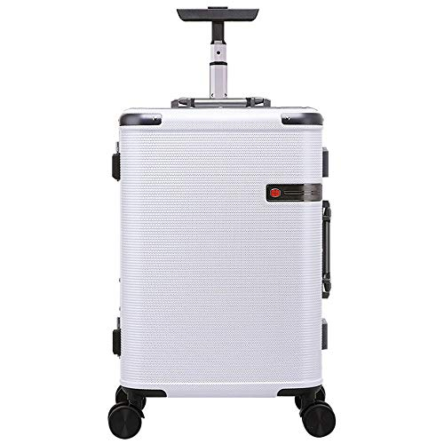 Heqianqian Koffer Reise-Koffer Tragen Eine Hartschalen Swivel Koffer mit Vier Dual-Silent-Schwenkerräder Für Reisen und Geschäftsreisende (Color : White, Size : 45L)