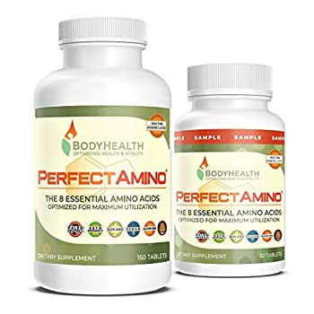 BodyHealth PerfectAmino Tablets  150ct Plus 30ct Travel Bottle  All 8 Essential Amino Acids with BCAAs + Lysine Phenylalanine Threonine Methionine Tryptophan Supplement for Recovery & Strength