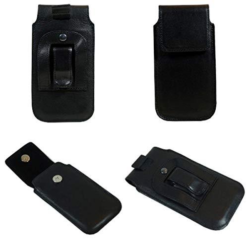 Gürtel Vertikal Leder Handytasche, schwarz mit Stahlclip & Sicherungsschlaufe für Nokia G10 G20 Handy Gürteltasche, Wallet, schwarz