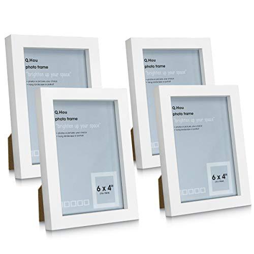 Q.Hou Bilderrahmen, 10 x 15 cm, Weiß, 4 Stück, mit High-Definition-Glas für Tischplatte oder Wandmontage (005US-QH-MD4X6-WHT)