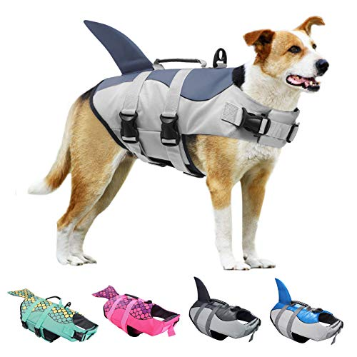 KOESON Dog Life Jacket, Fashion Pet Swimming Vest, Puppy Life Saver with Adjustable Strong Handle-Grey-XL