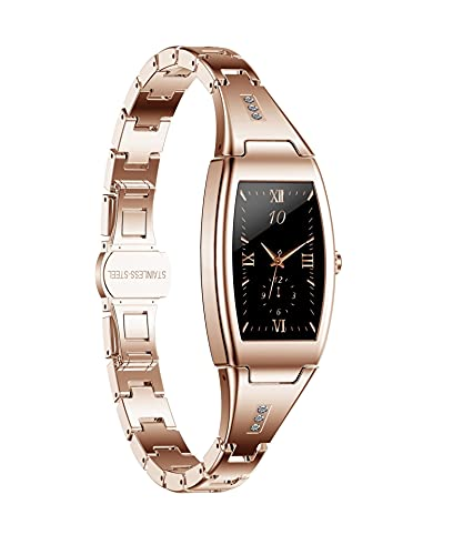 KaiLangDe Smart Watch Fitness Tracker Fitness Watch con Monitor de Ritmo cardíaco Step Calorie Counter Tracker Actividad Pedómetro Impermeable Compatible para Mujeres Hombres Bluetooth (Color : Gold)