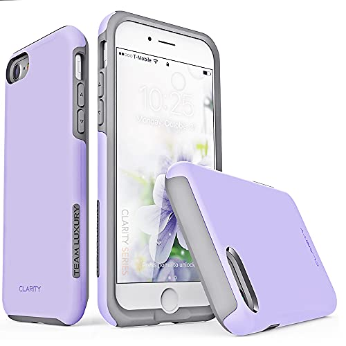 TEAM LUXURY [Clarity Series] Designed for iPhone SE 2020 Case/iPhone 8 Case/iPhone 7 case, Shockproof Protective Tough Rugged Phone Cases Cover for Apple iPhone SE 2020/8/7 4.7 Inch, Lavender/Gray