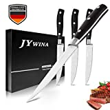 Steak Knives Set, 4 Pieces Steak Knife in German Stainless Steel, Fine Serrated Edge Design and Package with Gift Box?Christmas Gift for Home Kitchen, Dinner Table, Restaurant
