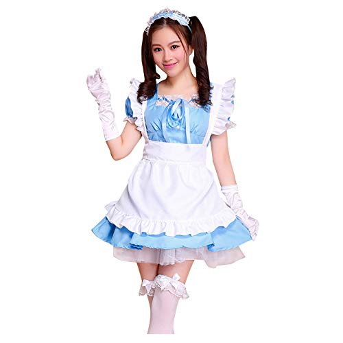 NAQUSHA Women Sexy Summer Dress,Uniform School Girl Ladies Dress Women Lace Miniskirt Outfit Short sleevese Prom Dress(Sky Blue,Small)