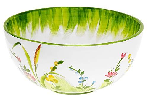 Lashuma Handgemachte Salatschüssel mittel, Italienische Keramik Schüssel mit Blumenwiesen Muster, Salat Schale Rund 22 cm