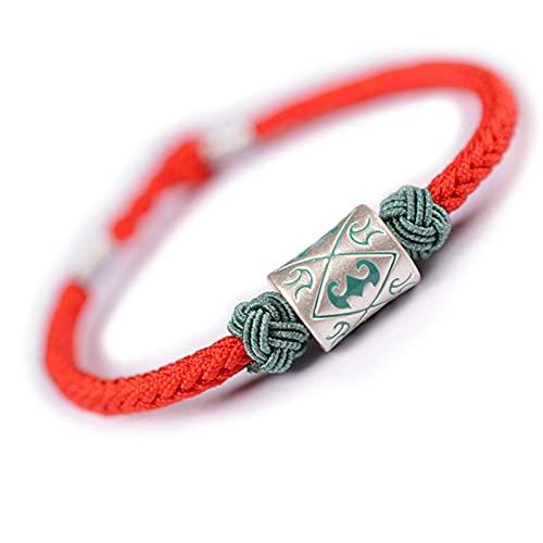 YiGanQiang Pulsera Mujer Plata 925, Lucky Clother Brazo Cadena Hecho A Mano Hecho A Mano Hecho A Mano Tibetano Strap Strap Red Cobre Colgante Budista Joyería Amistad Pulsera (Color : Red)