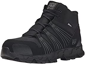 Timberland PRO Men's Powertrain Mid Alloy Toe ESD Industrial Hiking Boot, Black Synthetic, 12 W US