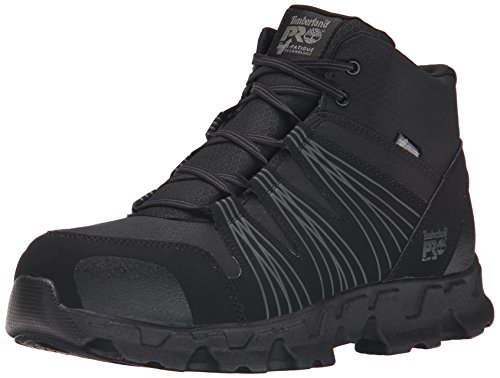 Timberland PRO Men's Powertrain Mid Alloy Toe ESD Industrial Hiking Boot, Black Synthetic, 12 M US