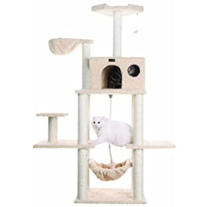 Aeromark International Armarkat Mult -Level Cat Tree Hammock Bed, Climbing Center for Cats and Kittens A6901, Beige, 69…