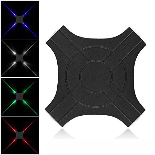 FGAITH wandlamp met kruis, eenvoudig en creatief design, wandlamp met sterren, 8 W, waterdicht, met vier koppen, zwart