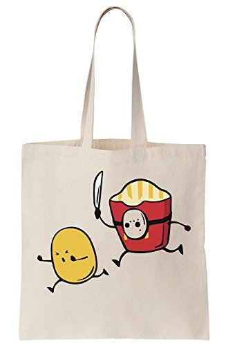 graphke Friday Killer Fries Chasing Potato With Machete and Hockey Mask Canvas Tote Bag