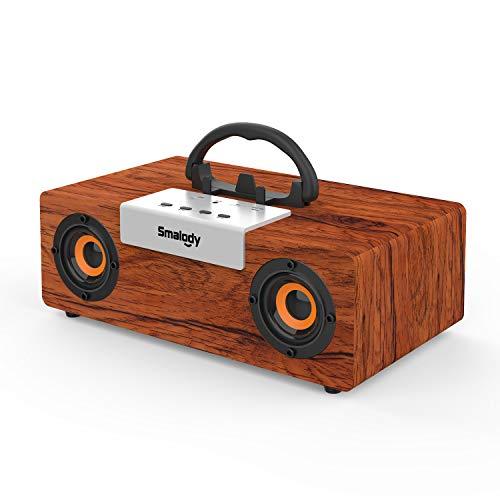 Altavoz Bluetooth con graves impactantes, altavoces portátiles inalámbricos de madera con subwoofer estéreo de 50 W 2.1HD potentes de Smalody para exteriores / hogar