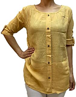 Veronica Long Sleeve Ladies Blouse Round neck yellow gold