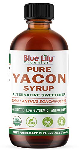 Blue Lily Organics | Yacon Syrup | Alternative Sweetener | All Natural Prebiotic, Low Glysemic, Antioxidant | Anti-Inflammatory Properties | Half the Calories of Sugar | Weight Management | 8 fl. oz