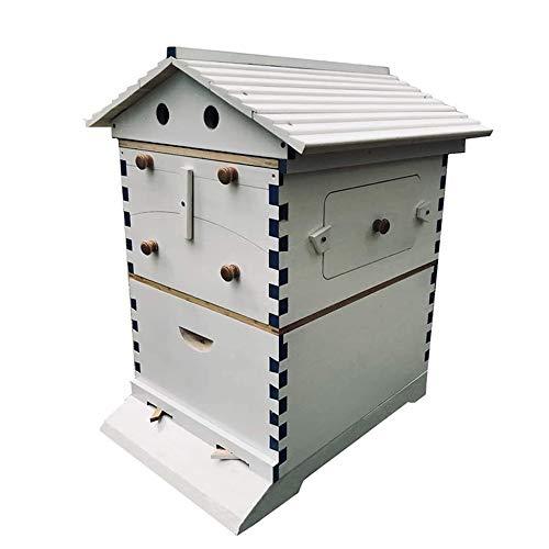 HOTEU Ruche d'abeille Mobile - Ruche en Bois avec Équipement D'apiculture De Ruche De Toit À Pignon